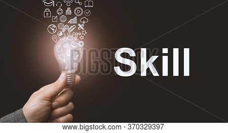 Skill Concept. Abstract Luminous Light Bulb In Hands, Knowledge, Qualification And Experience Symbol