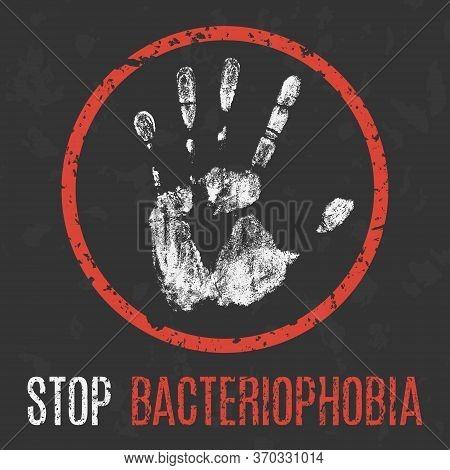 Conceptual Vector Illustration. Human Sickness. Stop Bacteriophobia.