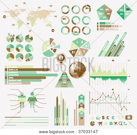Premium Retro infographics eco  collection: graphs, histograms, arrows, chart, 3D globe, icons and a lot of related design elements.