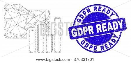 Web Carcass Charts Folder Icon And Gdpr Ready Seal Stamp. Blue Vector Round Textured Seal Stamp With