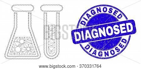 Web Mesh Chemical Glassware Icon And Diagnosed Seal. Blue Vector Round Distress Seal With Diagnosed