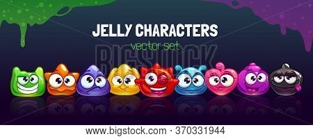 Funny Carton Colorful Jelly Characters Set. Cool Slime Horizontal Banner.