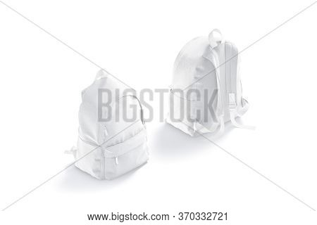 Blank White Backpack With Zipper And Strap Mockup, Front Back View, 3d Rendering. Empty Textile Carr