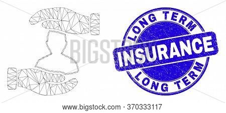 Web Mesh Customer Care Hands Pictogram And Long Term Insurance Seal Stamp. Blue Vector Round Scratch