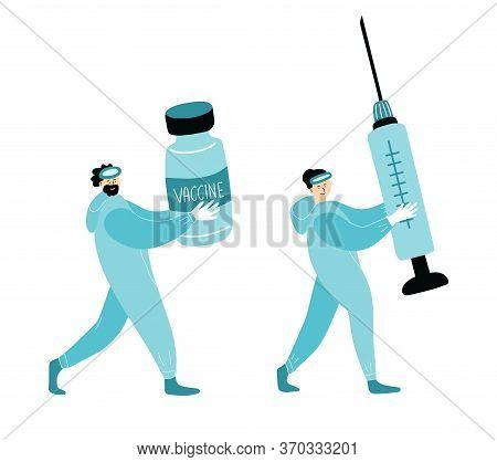 Virologists Man And Woman Carry A Vaccine Bottle And A Syringe To Begin Vaccinating People. They Hav