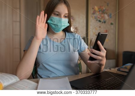 Teenager Girl, In Medical Mask, Protection Viruses Bacteria, Video Call By Phone, Communication With