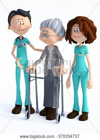 3d Rendering Of A Young Nurse And Smiling Friendly Cartoon Doctor Wearing A Stethoscope Helping An E