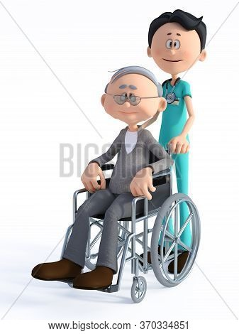 3d Rendering Of A Young Smiling Friendly Cartoon Doctor Wearing A Stethoscope Standing With An Elder