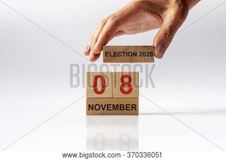 Usa Presidential Elections 2020 November 8. Wooden Cube And Blocks Calendar With Date To Vote On 8th