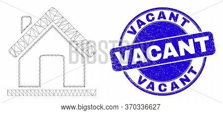 Web Mesh Home Pictogram And Vacant Seal Stamp. Blue Vector Rounded Grunge Seal Stamp With Vacant Cap