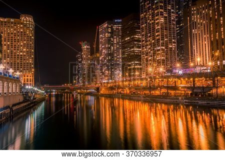 Chicago, Illinois Usa- December 16, 2017, Chicago River Cityscape At Night (for Editorial Use Only)