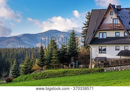 Typical Cottages In A Tatra Mountain Valley. Local Travel Concept. Poland, Tatra