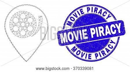 Web Carcass Movie Map Marker Pictogram And Movie Piracy Seal Stamp. Blue Vector Rounded Distress Sta