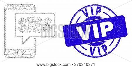 Web Mesh Phone Sms Cloud Pictogram And Vip Seal. Blue Vector Rounded Grunge Watermark With Vip Capti
