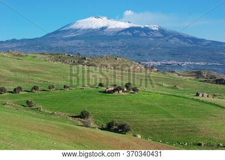 Etna Volcano landscape of Sicily a natural landmark Unesco (from the southern side)