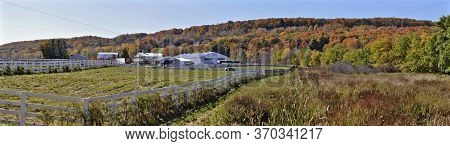 Milton, Ontario / Canada - 10/19/2008: Panoramic View Of A Horse Farm At Niagara Escarpment In Autum