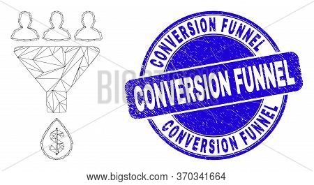 Web Mesh Sales Funnel Pictogram And Conversion Funnel Stamp. Blue Vector Rounded Grunge Stamp With C