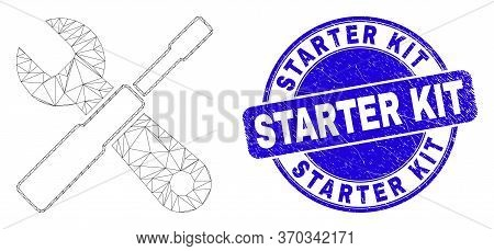 Web Mesh Setup Tools Icon And Starter Kit Seal. Blue Vector Rounded Scratched Seal Stamp With Starte