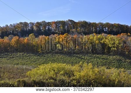 Profile View Of Niagara Escarpment In Autumn, Milton, Ontario, Canada.