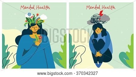 Mental Health Illustration Concept. Psychology Visual Interpretation Of Mental Health