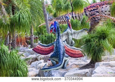 Nong Nooch Garden, Pattaya, Thailand - April 1, 2020: Dinosaur Valley? In Nong Nooch Tropical Botani