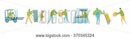 Delivery Service Characters Set With Messengers, Postman With Push Cart And Couple Using Shoulder St