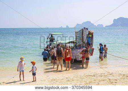 Krabi,thailand - February 20, 2020 : Phra Nang Cave Beach. The Beach Is A Famous Travel Destination