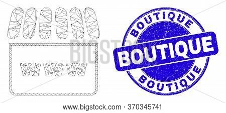 Web Mesh Webshop Pictogram And Boutique Seal Stamp. Blue Vector Round Textured Seal Stamp With Bouti