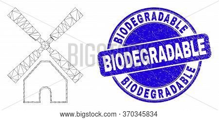 Web Carcass Windmill Pictogram And Biodegradable Stamp. Blue Vector Rounded Distress Seal Stamp With