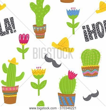 Cartoon Seamless Pattern In Mexican Style. Succulens, Sombreros, Flowers And Moustache Upon White Ba