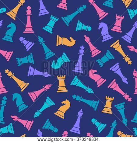Seamless Vector Pattern With Colored Chess On Blue. Chess Pieces Seamless Print. Vector Illustration