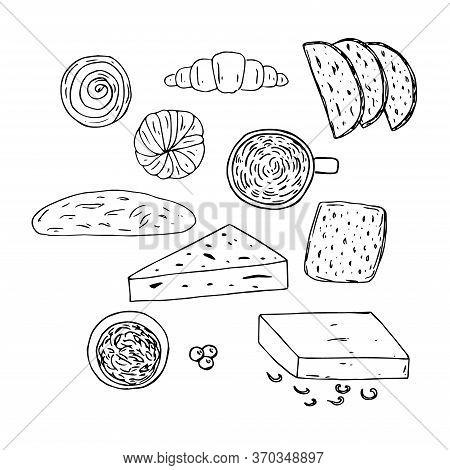 Danish Breakfast Set, Vector Illustration, Coffee, Rolls, Croissant, Bread, Butter, Cheese, Jam, Ber