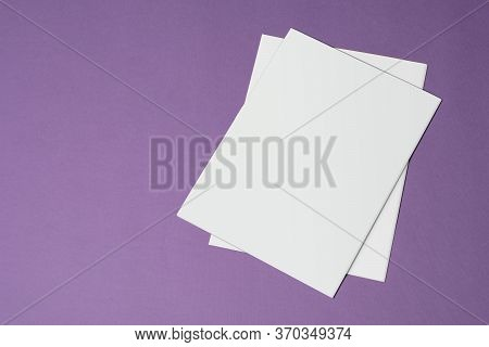Two Tri-fold Catalog With Blank Cover On Purple Background, Mock-up Series Template Ready For Your D