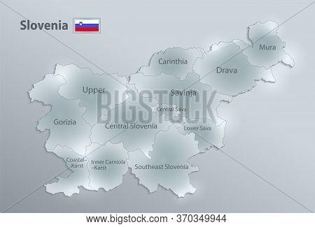 Slovenia Map And Flag, Administrative Division, Separates Regions And Names Individual Region, Desig
