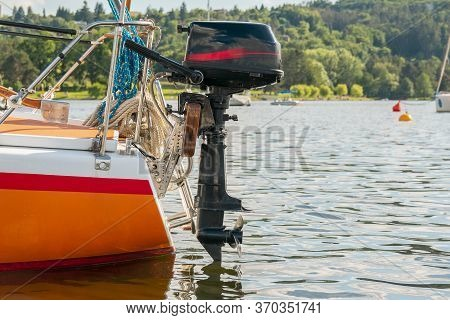 Ship Propeller. Outboard Engine. Yacht On The Lake.