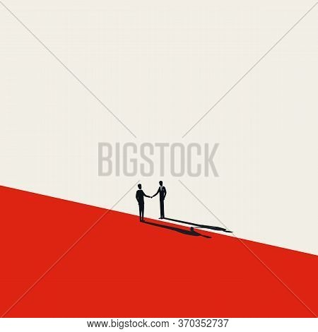 Business Negotiation, Deal Making Or Acquisition, Merger Vector Concept. Two Men Shaking Hands. Mini