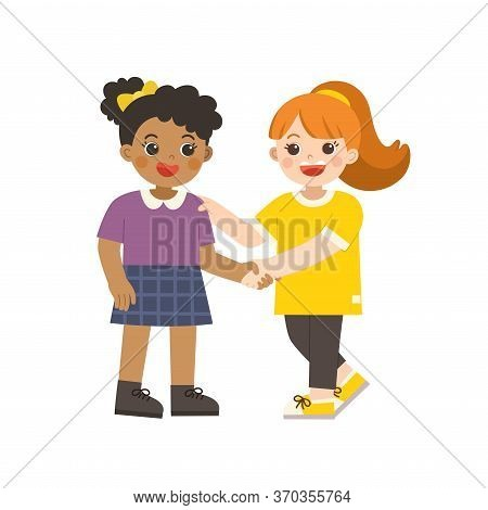 Happy Girls Standing And Shaking Hands Making Peace. Happy Multiracial Kids Best Friends. Happy Girl