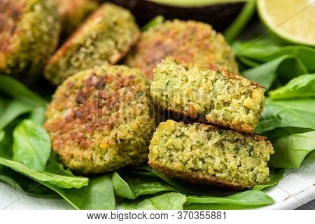 Vegetarian Spinach Falafel Closeup View. Arabic Lebanese Cuisine Food. Chickpea And Spinach Falafel
