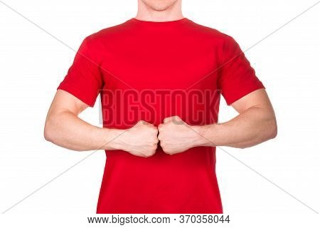 Man In Red T-shirt Displaying A Hostile Or Aggressive Gesture Fist Bump Isolated