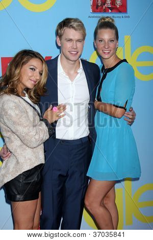LOS ANGELES - SEP 12:  Vanessa Lengies, Chord Overstreet, Heather Morris arrives at the Glee 4th Season Premiere Screening at Paramount Theater on September 12, 2012 in Los Angeles, CA