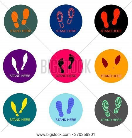 Several Types Of Shoes And Foots Stand Here Social Distancing Waiting Area Mark Use For Keep People