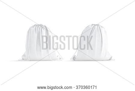 Blank White Drawstring Backpack Mockup, Front And Back View, 3d Rendering. Empty Fabric Backpacking