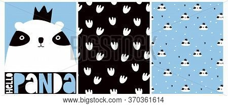 Hello Panda. Vector Illustration With Cute Hand Drawn Panda Bear Isolated On A Blue Background. Love