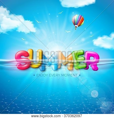 Vector Summer Illustration With Colorful 3d Typography Letter On Underwater Blue Ocean Background. R