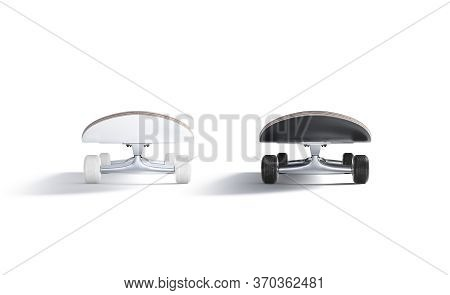 Blank Black And White Wood Skateboard Mockup Set, Front View, 3d Rendering. Empty Teenager Extremal