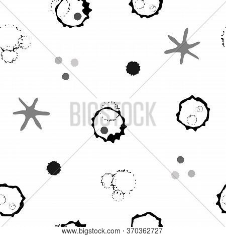 Abstract Moon Crater And Stars Vector Seamless Pattern Background. Naive Style Hand Drawn Celestial