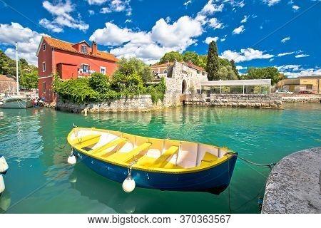 Zadar. Historic Fosa Harbor Bay In Zadar Boats And Architecture Colorful View, Dalmatia Region Of Cr