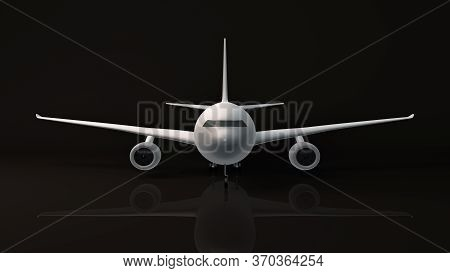Close Up Of Air Plane Front Side, 3d Rendering, Isolated On Black Background.