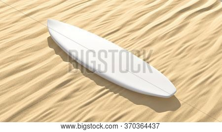 Blank White Surfboard Lying On Sand Mock Up, Side View, 3d Rendering. Empty Surfing Deck On Grit Pla