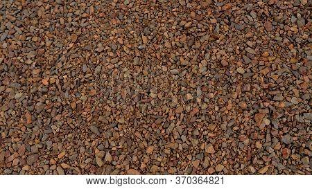 Small Granite Gravel Stones.gravel Texture. Small Size. Brown Stones